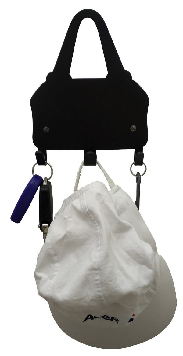 Bag Holder & Keys Rack - 3 Hooks - Black - Buy Steel Products Online