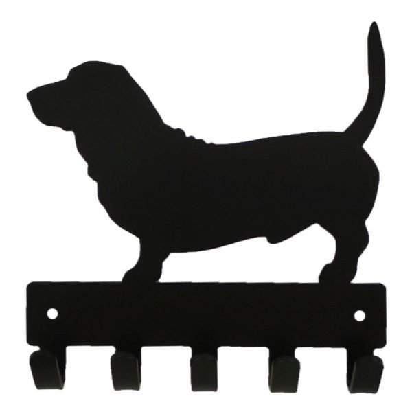 Basset Key Rack & Leash Hanger - 5 Hooks - Black - Buy Steel Products Online
