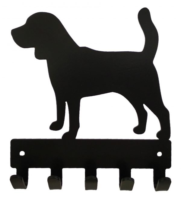 Beagle Key Rack & Leash Hanger - 5 Hooks - Black - Buy Steel Products Online