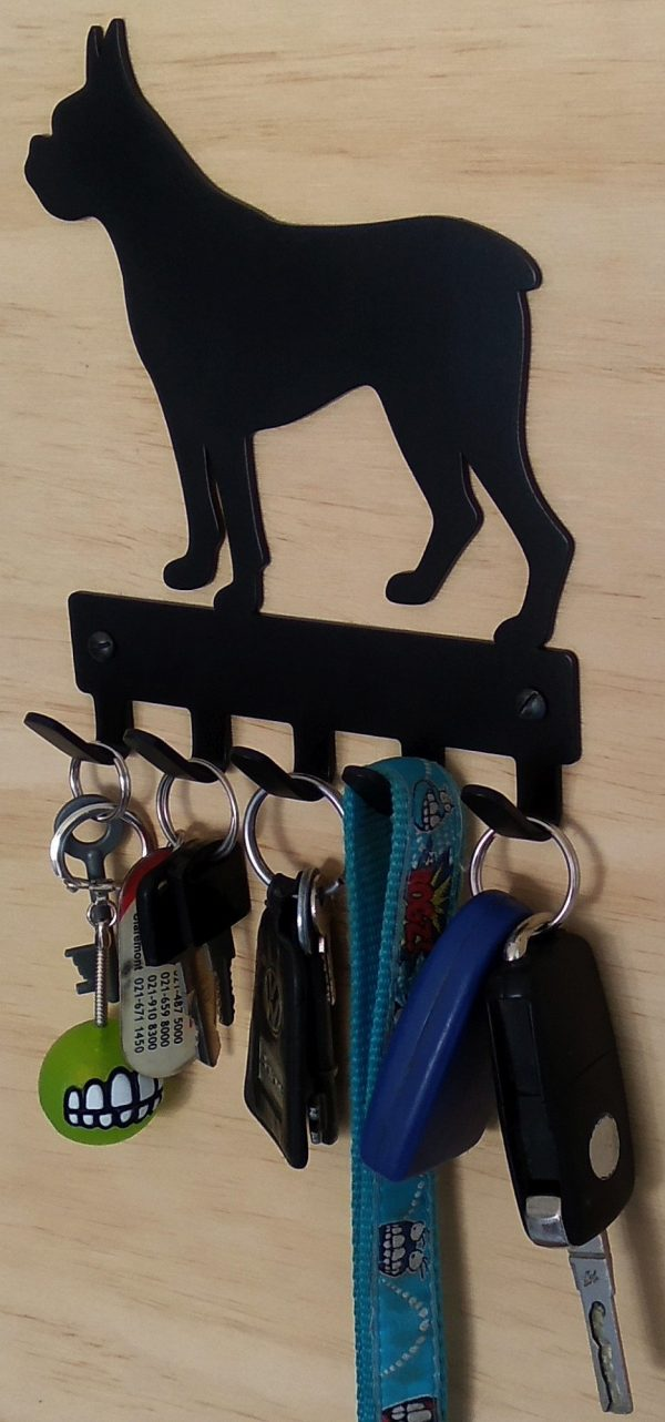 Boxer Key Rack & Leash Hanger - 5 Hooks - Black - Buy Steel Products Online