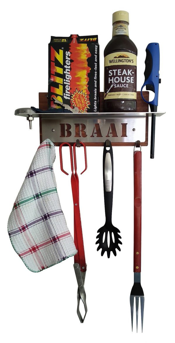 Braai Utensils Holder with Shelf - 4 Hooks - Stainless Steel - Buy Steel Products Online