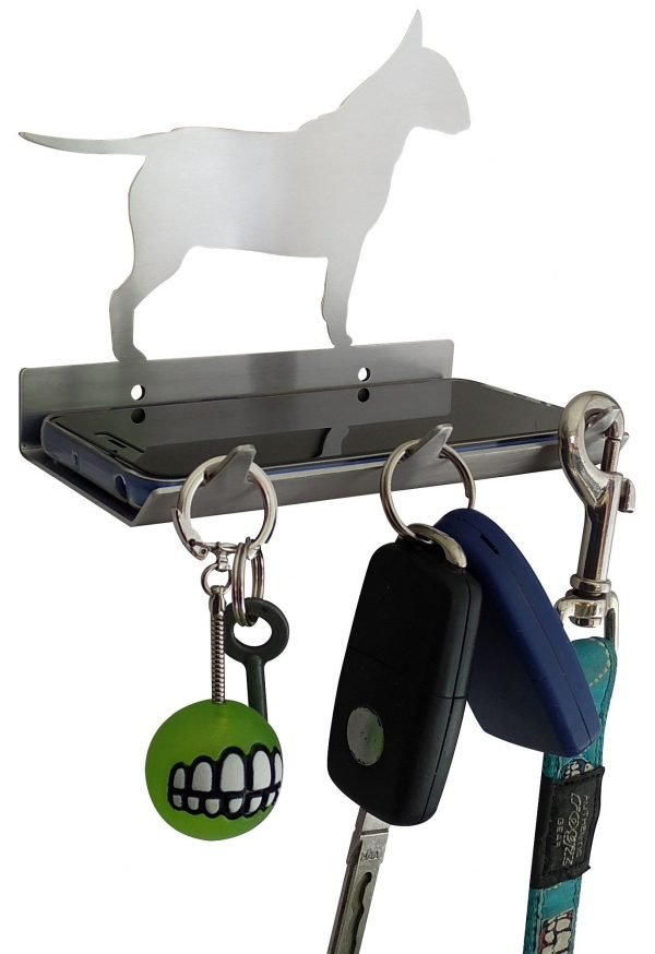 Bull Terrier Keys Rack with Sunglasses Tray - 3 Hooks - Stainless Steel - Buy Steel Products Online