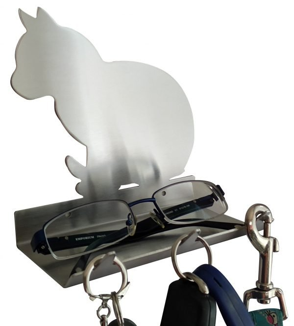 Cat Sitting Keys Rack with Sunglasses Tray - 3 Hooks - Stainless Steel - Buy Steel Products Online