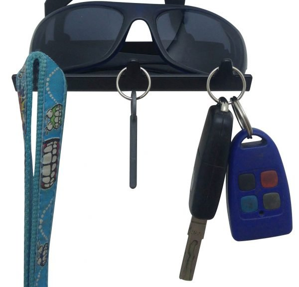Cat Sitting Keys Rack with Sunglasses Tray - 3 Hooks - Black - Buy Steel Products Online