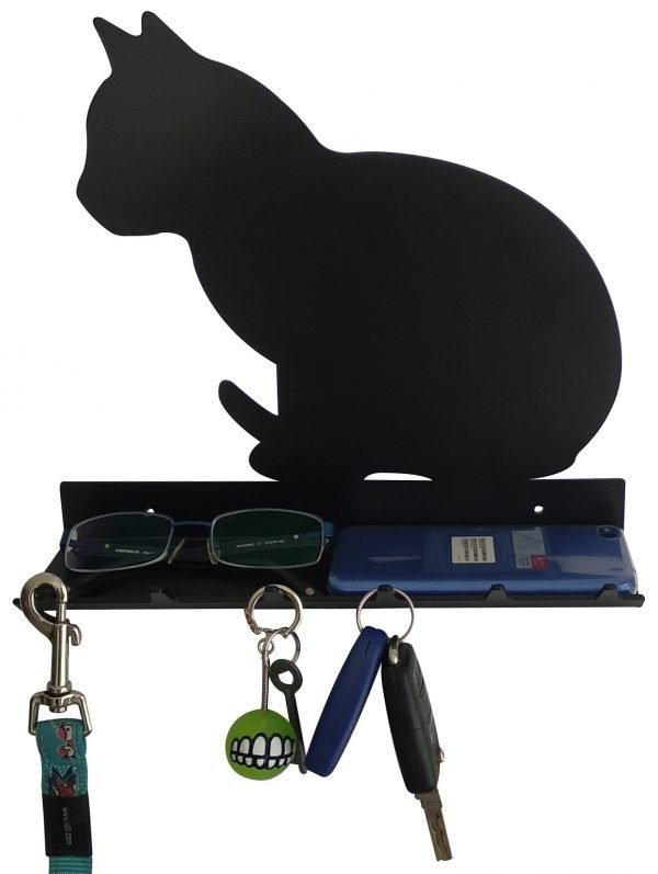 Cat Sitting Key Rack with Sunglasses Tray - 6 Hooks - Black - Buy Steel Products Online