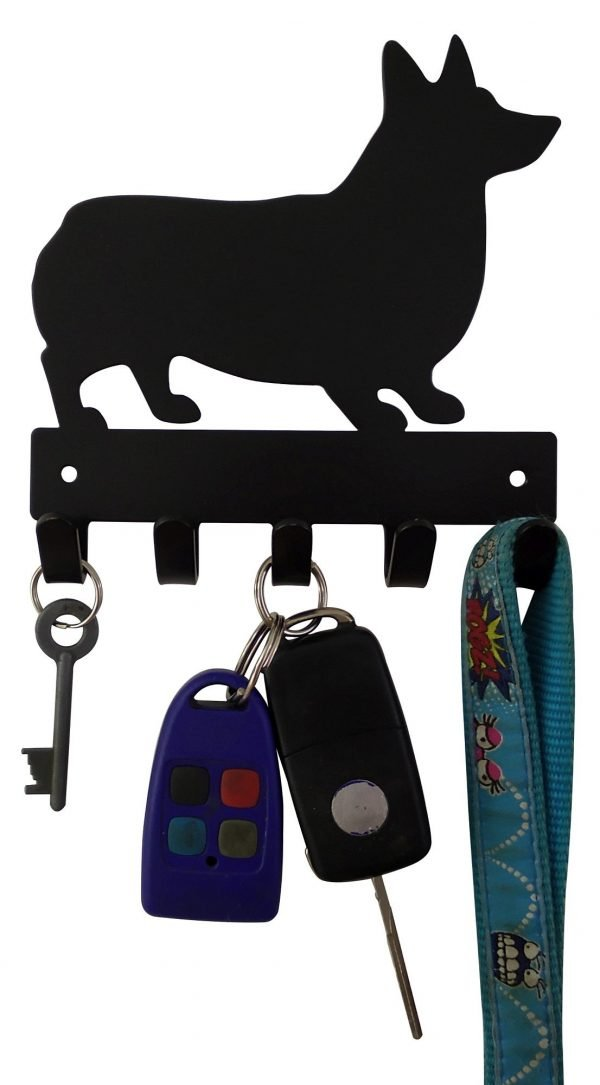 Corgi Key Rack & Dog Leash Hanger with 5 Hooks - Buy Steel Products Online