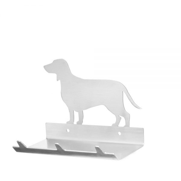 Dachshund Keys Rack with Sunglasses Tray - 3 Hooks - Stainless Steel - Buy Steel Products Online