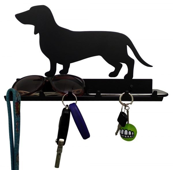 Dachshund Key Rack with Sunglasses Tray - 6 Hooks - Black - Buy Steel Products Online