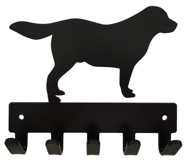 Golden Retriever Key Rack & Leash Hanger - 5 Hooks - Black - Buy Steel Products Online