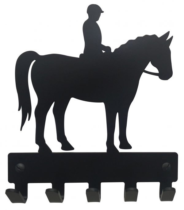 Horse with Rider Key Rack & Leash Hanger - 5 Hooks - Black - Buy Steel Products Online