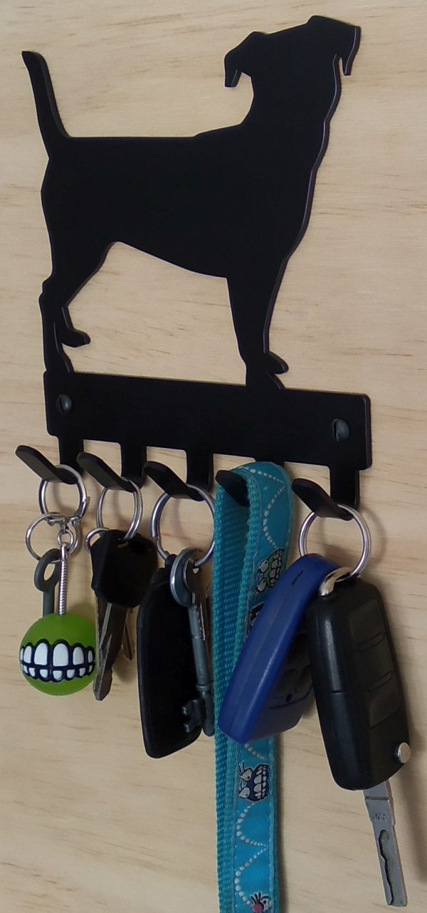 Jack Russel Key Rack & Leash Hanger - 5 Hooks - Black - Buy Steel Products Online
