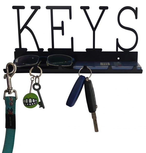 Keys Rack with Sunglasses Tray - 6 Hooks - Black - Buy Steel Products Online