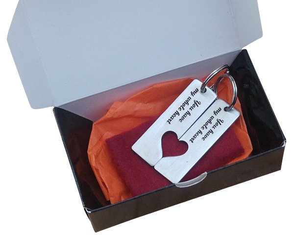 Matching Hearts Key Rings in Gift Box - Buy Steel Products Online