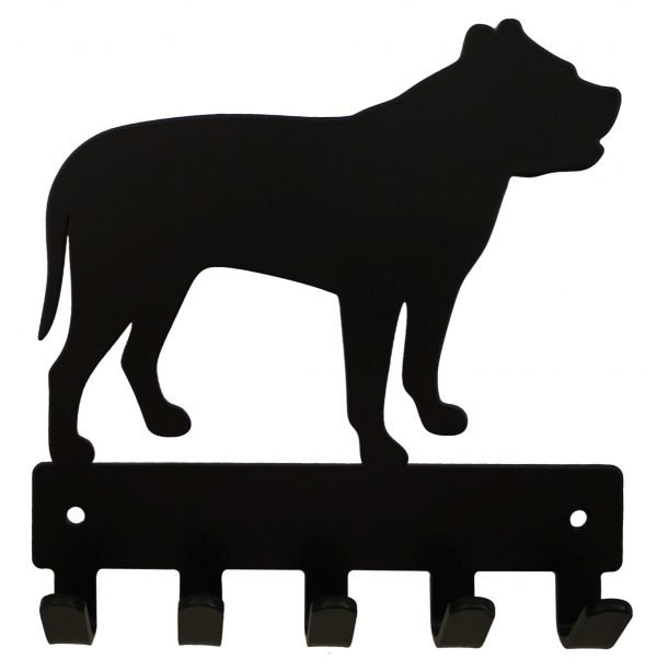 Pitbull Key Rack & Leash Hanger - 5 Hooks - Black - Buy Steel Products Online