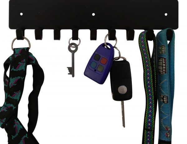 Pitbull Key Rack & Leash Hanger - 9 Hooks - Black - Buy Steel Products Online
