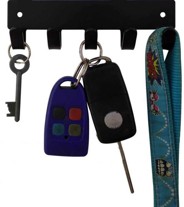 Pomeranian Key Rack & Leash Hanger - 5 Hooks - Black - Buy Steel Products Online