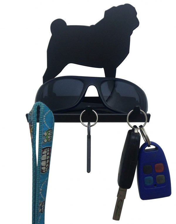 Pug Keys Rack with Sunglasses Tray - 3 Hooks - Black - Buy Steel Products Online