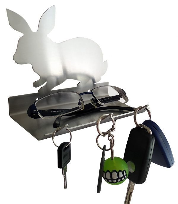 Rabbit Keys Rack with Sunglasses Tray V1 - 3 Hooks - Stainless Steel - Buy Steel Products Online