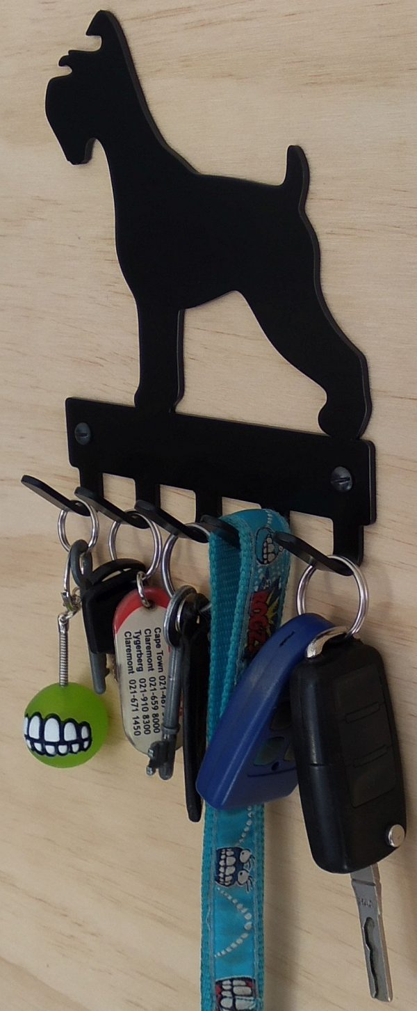 Schnauzer Key Rack & Leash Hanger - 5 Hooks - Black - Buy Steel Products Online