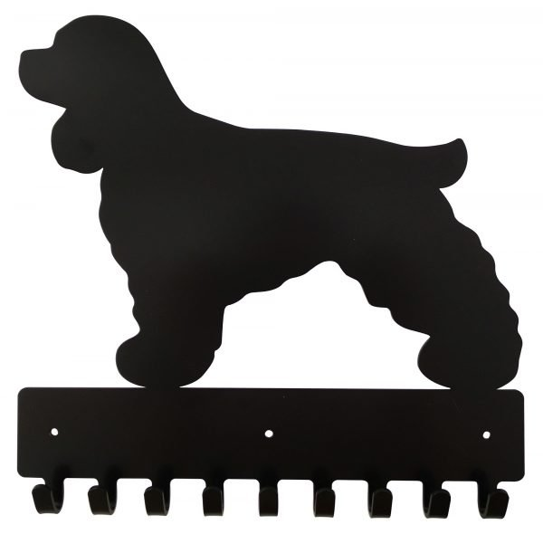 Cocker Spaniel Key Rack & Leash Hanger - 9 Hooks - Black - Buy Steel Products Online
