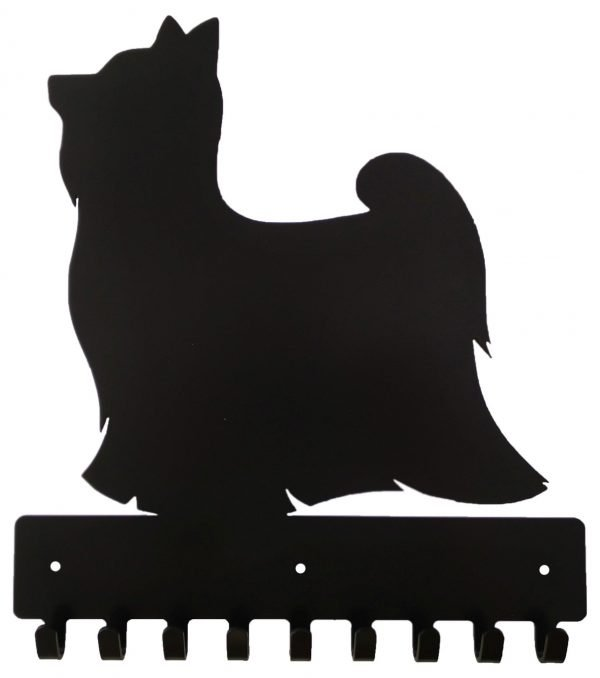 Yorkshire Terrier Key Rack & Leash Hanger - 9 Hooks - Black - Buy Steel Products Online